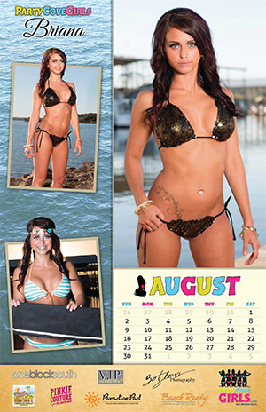 Party Cove Girls 2015 Calendar - August