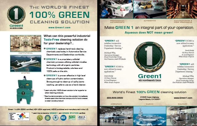 GREEN 1 High Performance Cleaning Solution Cut Sheet