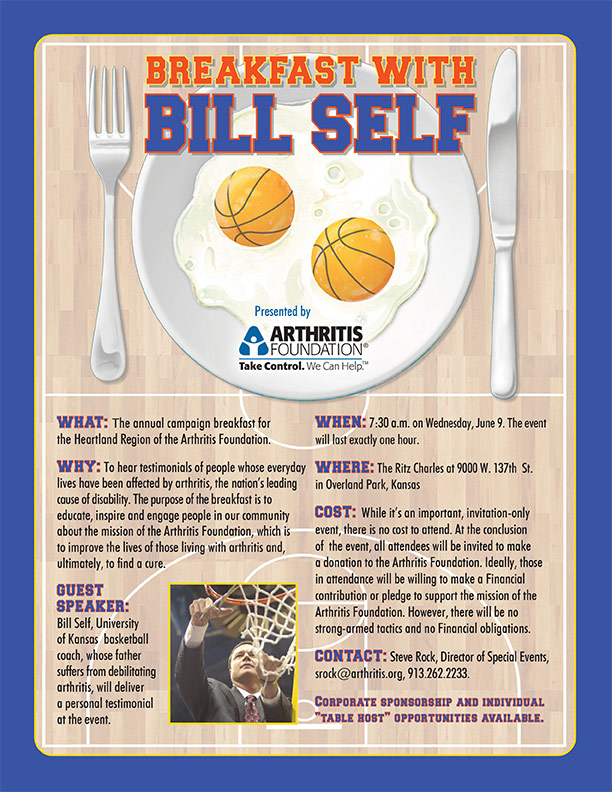Arthritis Foundation - Commitment to a Cure - Breakfast With Bill Self Flyer