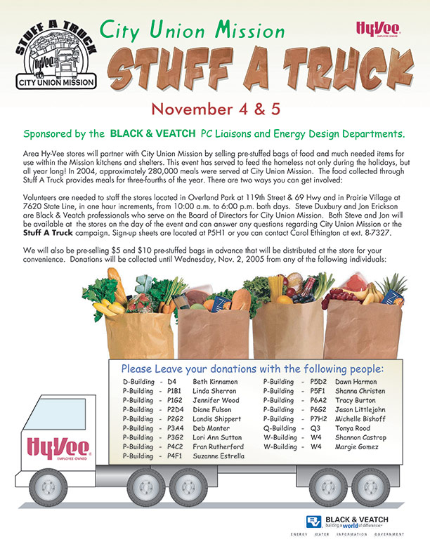"City Union Mission ""Stuff-a-Truck"" Food Drive Flyer"