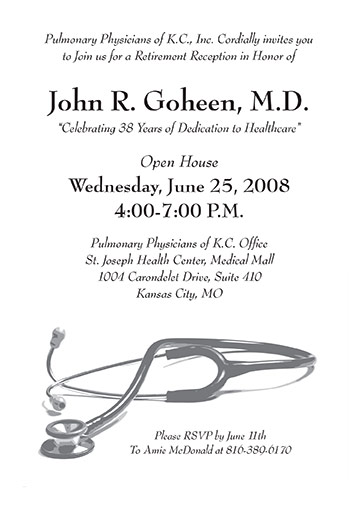 Doctor or Physician Retirement Reception Party Invitation