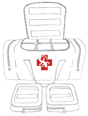 6-Compartment Medical Duffle Bag Illustration